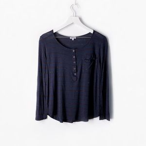 splendid speckled melange stripe snap front henley
